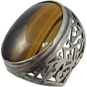 SALE Israeli Sterling Silver & Tiger Eye Large Ring Israel