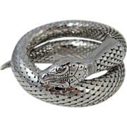SALE Vintage Single-Coil Silver Tone Whiting & Davis Snake Bracelet