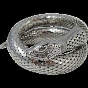 SALE Vintage Single-Coil Silver Tone Whiting & Davis Snake Bracelet