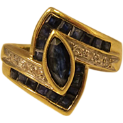 SALE Vintage 14k Yellow Gold Diamonds & Blue Sapphires Ring