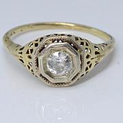 SALE Beautiful Art Deco 14k Filigree Yellow Gold & Diamond Engagement Ring