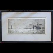 """SALE Original Etching """"Dumbarton Rock"""" by English Artist William Lionel Wyllie (1851"""