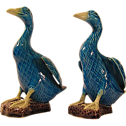 Vintage 1920s-1940s Pair of Blue Chinese Export Pottery Ducks