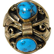 SALE Vintage Navajo Gilt Sterling Silver & Blue Turquoise Ring by A. J. Platero