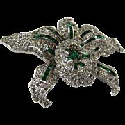 SALE Vintage 1930s Signed KTF Trifari Trembler Orchid Brooch Pin