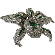 Vintage 1930s Signed KTF Trifari Trembler Orchid Brooch Pin