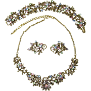 SALE Vintage Multi-Color Rhinestone Coro Set Necklace, Bracelet & Earrings
