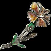 SALE Vintage Sterling Silver Marcasites and Multicolor Enamel Flower Brooch Pin