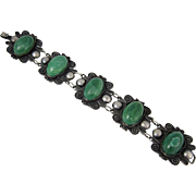 SALE Vintage South American 900 Silver & Green Stones Large Link Bracelet