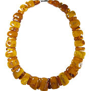 SALE Antique 100% Natural Butterscotch Egg Yolk Amber Graduated Beads Necklace 158 Grams!!!