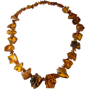 SALE Huge 100% Natural Baltic Honey Amber Necklace with Insect / Bug Inclusion