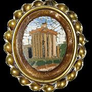 SALE Vintage 10k Yellow Gold Micro Mosaic Pin Brooch Pantheon