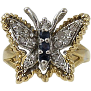 SALE Vintage 14k Yellow Gold Diamonds & Sapphires Butterfly Ring