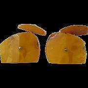 SALE Vintage Egg Yolk / Butterscotch Baltic Amber Cufflinks Cuff Links