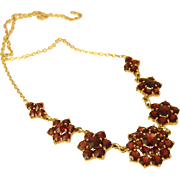 Art-Deco 1930s Bohemian Garnets German Necklace 8k (333 mark) Yellow Gold