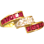 SALE Modernist 18kt Yellow Gold Rubies & Diamonds Ring