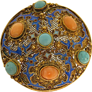 Vintage Chinese Enamel Coral & Turquoise Gilt Sterling Silver Round Brooch Pin