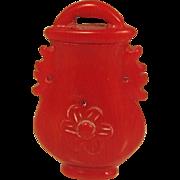 Vintage Hand Carved Natural Red Coral Pendant