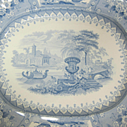 Antique Blue Staffordshire Transferware Ironstone Serving Platter Canova Pattern 1830s-1850s