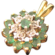 Vintage 10k Yellow Gold Diamonds & Emeralds Round Pendant