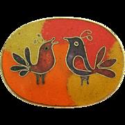 Vintage 1960s 800 Silver & Enamel Bird Brooch Pin