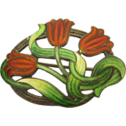 Art Nouveau Guilloche Enamel Sterling Silver Tulip Brooch Pin