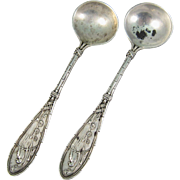 Pair of Sterling Silver Salt Spoons by Whiting in Japanese Pattern