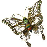 Vintage Gilt Filigree Sterling Silver & Enamel Chinese Butterfly Pin Brooch
