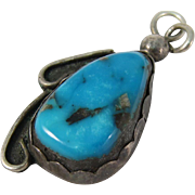 Vintage Sterling Silver & Turquoise Native American Pendant
