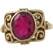 Vintage 1940s 10k Yellow Gold & Synthetic Ruby Ring