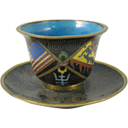 SOLD Chinese Qing Dynasty Cloisonné Enamel Cup & Saucer American Flag