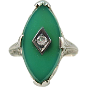 Art Deco 18k White Gold Green Chrysoprase and Diamond Ring