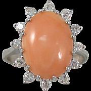 Vintage Pink Coral Diamond Cocktail Ring 14k White Gold Size 7.5
