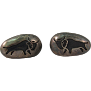 Vintage Sterling Silver Bull Cufflinks Singed Denver