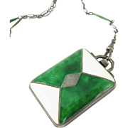 Art Deco 1920s Sterling Silver Levy-Wander Duo-Styl Watch Pendant Green & White Enamel