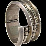 Modernist 925 Sterling Silver Hinged Bangle Bracelet Mexico