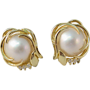 Vintage 14k Yellow Gold Pearls and Diamonds Pierced Earrings