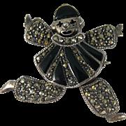 Vintage Sterling Marcasite Enamel Jester Clown Brooch Pendant Movable