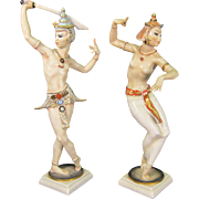 Rare Pair of Art Deco Hutschenreuther Balinese Dancers Porcelain Figurines
