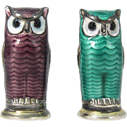 Vintage Sterling Silver & Guilloche Enamel Green and Purple Owl Salt Shakers by David Andersen
