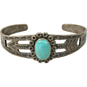 Vintage Native American Sterling Silver & Turquoise Cuff Bracelet