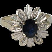 Retro 1980s 18k White Gold Blue Sapphire & Diamonds Ring Size 6
