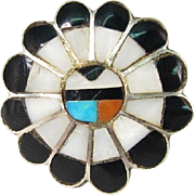 Vintage Native American Sterling Silver Mother of Pearl Onyx Ring Size 5