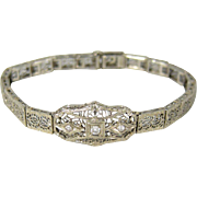 Authentic Art Deco 14k White Filigree Gold & Diamonds Bracelet