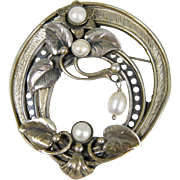 """Signed Sterling Silver & Cultured Pearls Large Flower Pin Brooch Pendant 2.75"""""""