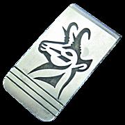 Vintage Native American Navajo Sterling Silver Money Clip Calvin Peterson