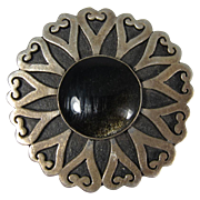 Vintage Mexican Taxco Sterling Silver & Black Iridescent Stone Brooch Pendant Mexico