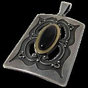 Vintage Modernist Sterling Silver and Black Onyx Pendant