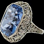 Gorgeous Art Deco 18k White Gold & Large 10 Carat Blue Topaz Glass Stone Ring Size 5