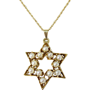 Beautiful 14k Yellow Gold Cultured Pearls Jewish Star of David Pendant Necklace